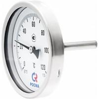 Термометры биметаллические коррозионностойкие тип БТ серии 220 (осевое тыльное присоединение с защитной гильзой)